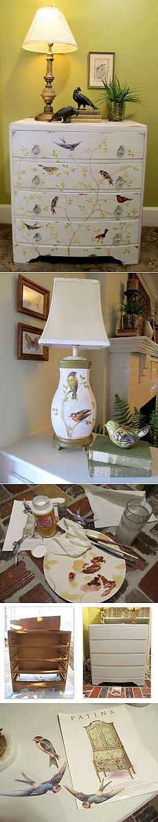 Комод и лампа, выполненные в одном стиле, МК, декупаж.