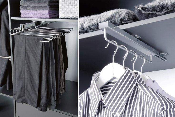 Utdragbara byx- och galghängare, för enklare åtkomst till dina plagg, är exempel på inredningsdetaljer till din måttbeställda garderobsinredning.