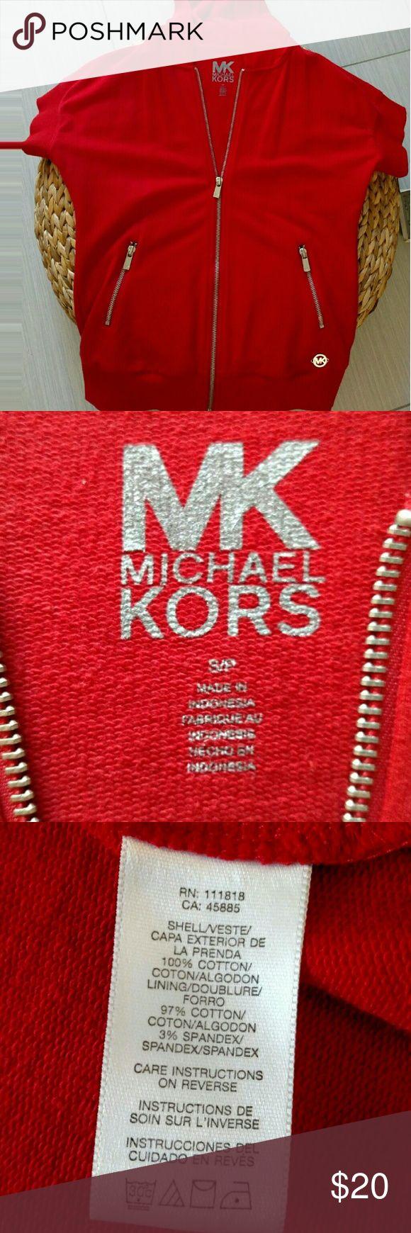 Michael Kors short sleeves hoodie Red short sleeves hoodie with silver accessories. MK emblem on left side on the hoodie & MK on all the zippers. Michael Kors Tops Sweatshirts & Hoodies