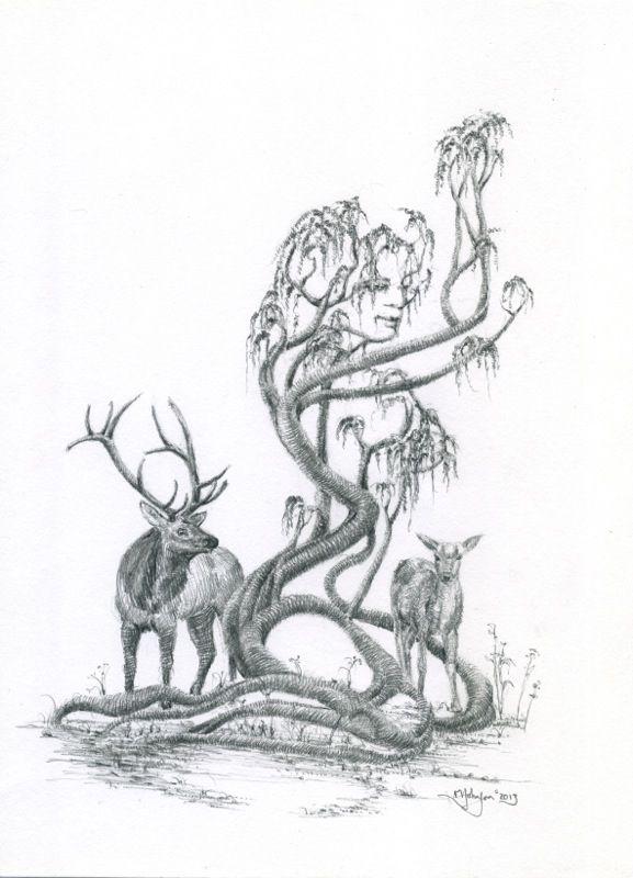 The Matchmaker by Mark Johnson www.MarkFineArt.ca #TreeDancer #MarkFineArt #TreeWoman #Gaia #Deer  #TorontoArtist #CanadianArtist