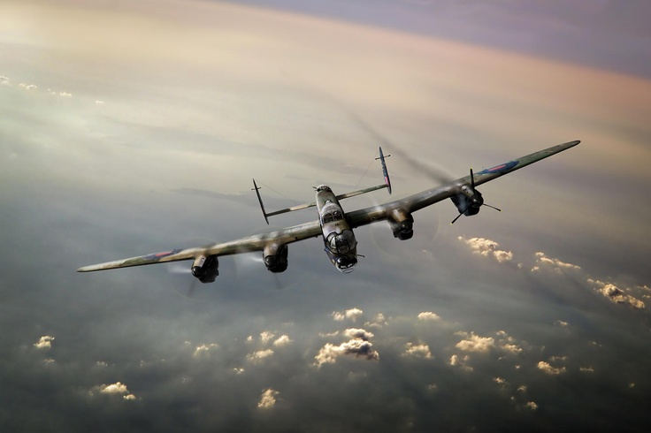 The One That Got Away - Fabulous new Lancaster bomber 'straggler' image from Gary Eason at Flight Artworks. Damaged and with the No 1 engine shut down, a solitary Lancaster bomber makes its way back to its home airfield in England from a sortie over Nazi occupied Europe in 1943. © Gary Eason - available in a range of print formats and for immediate download via www.flightartworks.com