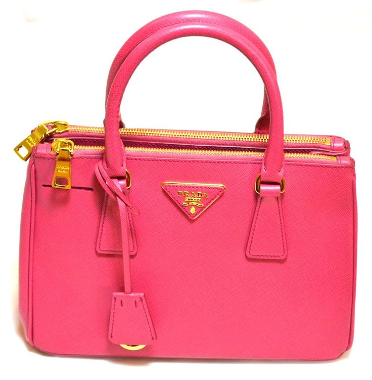 PRADA New BN2316 Top Handle Satchel Saffiano Leather Peonia Pink Gold Tote Bag #PRADA #TotesShoppers