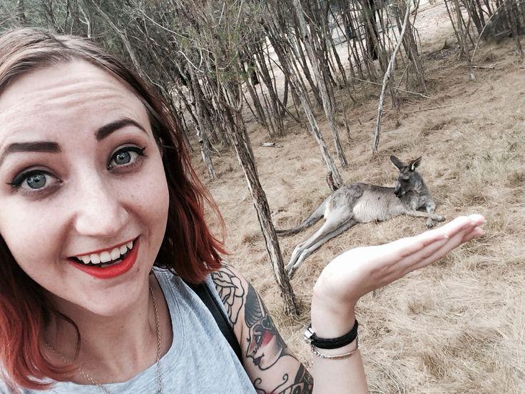 Holding a kangaroo