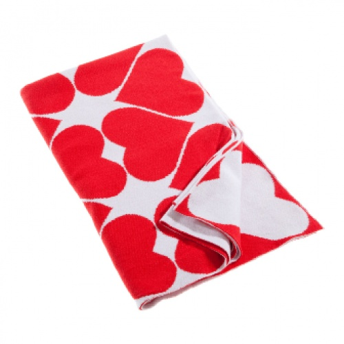 Little Bonbon Baby Blanket - Red Hearts - 100% Cotton Knit - available at As Your Child Grows - asyourchildgrows.com.au
