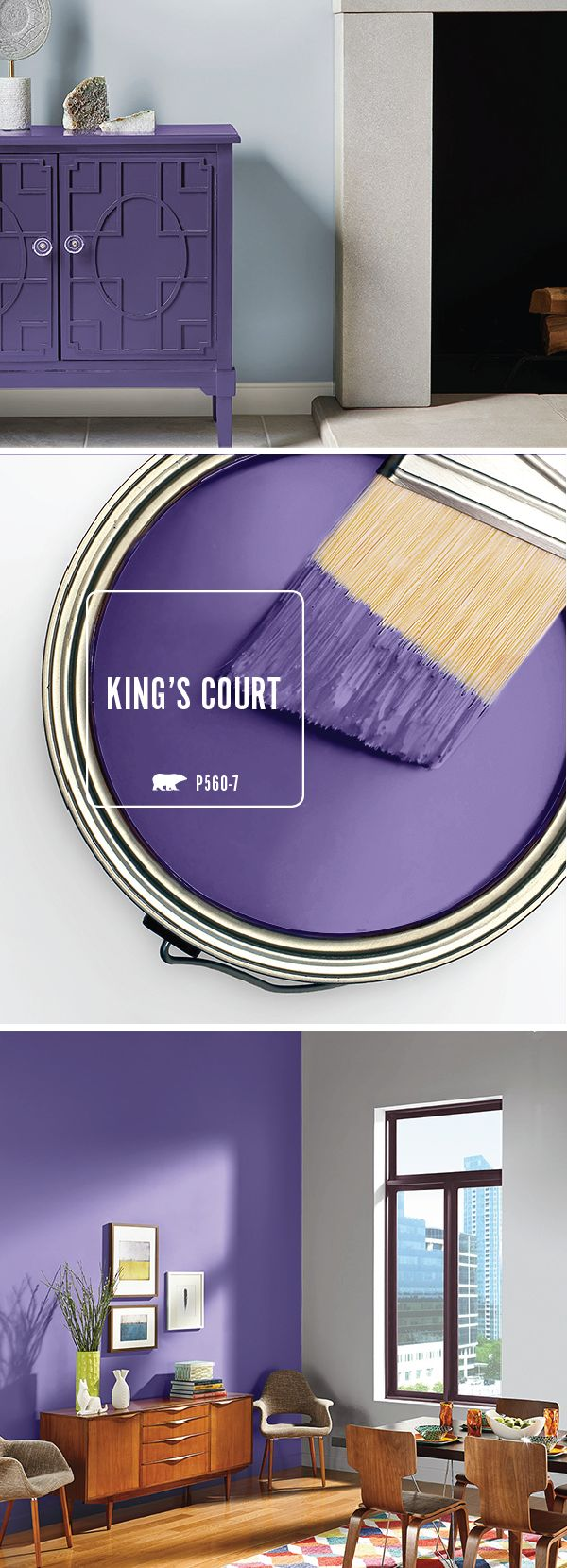 Get creative with the BEHR Paint Color of the Month: King's Court. This purple hue can be used to create a bold accent wall or a bright piece of furniture. Click here to see how you can accent this shade with light neutrals and warm wood tones.