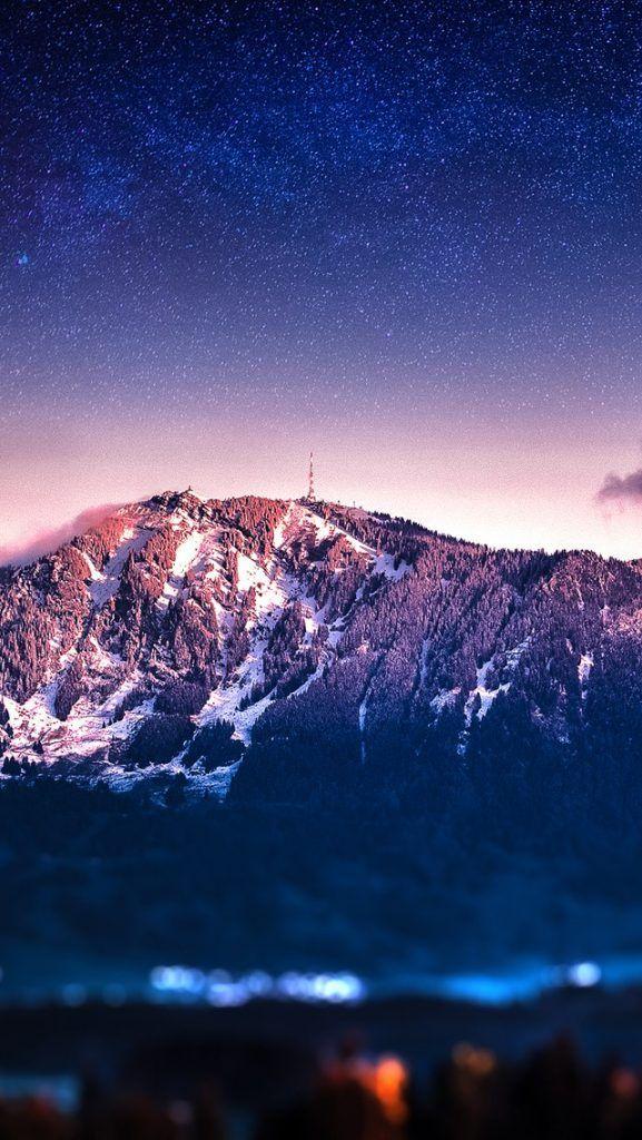 Mountain Stars Tilt Shift Ios 11 Iphone X Wallpaper Hd 4k New