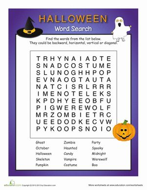 Halloween Second Grade Spelling Word Search Worksheets: Spooky Word Search