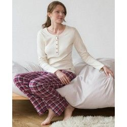 Pijama escocés mujer 100% algodón orgánico Living Crafts