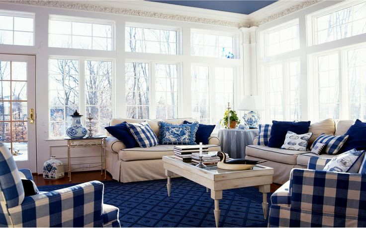 ☕ Cozy and stylish blue and white interior ☕