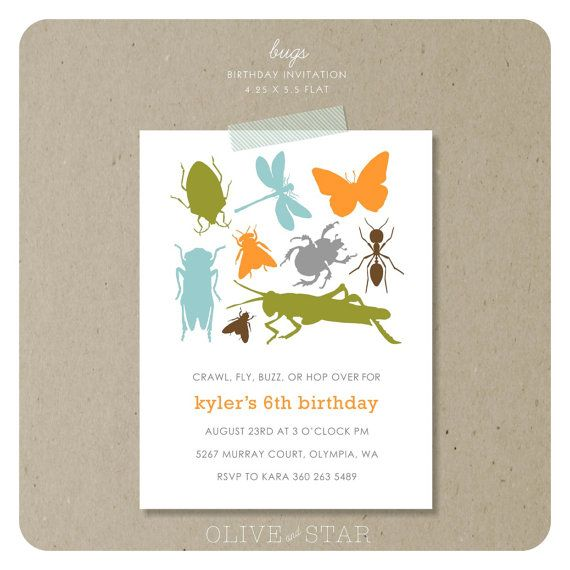 61 best Kids BugThemed Birthday Party images – Insect Birthday Invitations