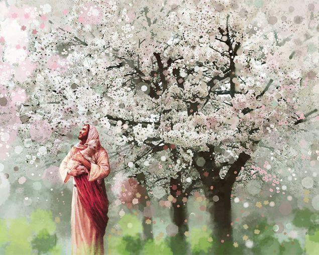 Yongsung Kim SHEPHERD/'S REST 12x18 Canvas Giclee Jesus Field Pink Flowers Lambs