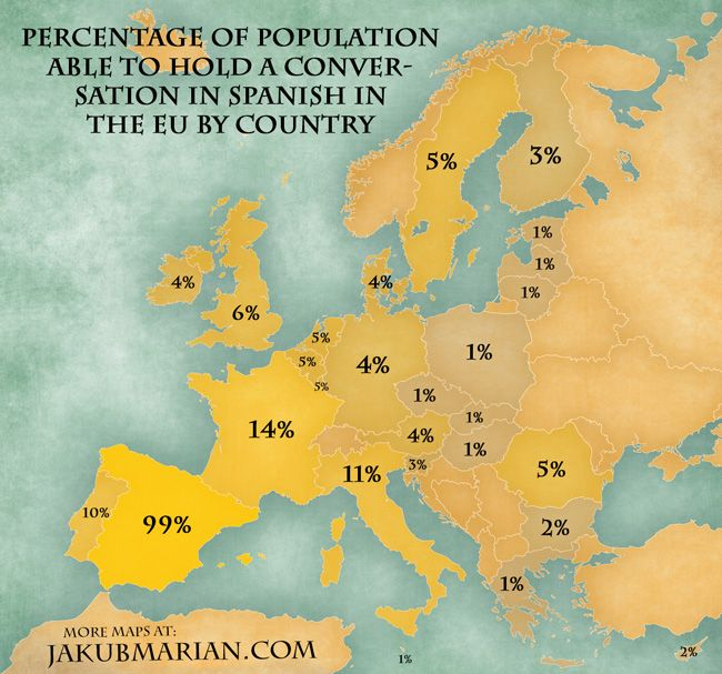 Map of the percentage of population able to hold a conversation in Spanish in the EU