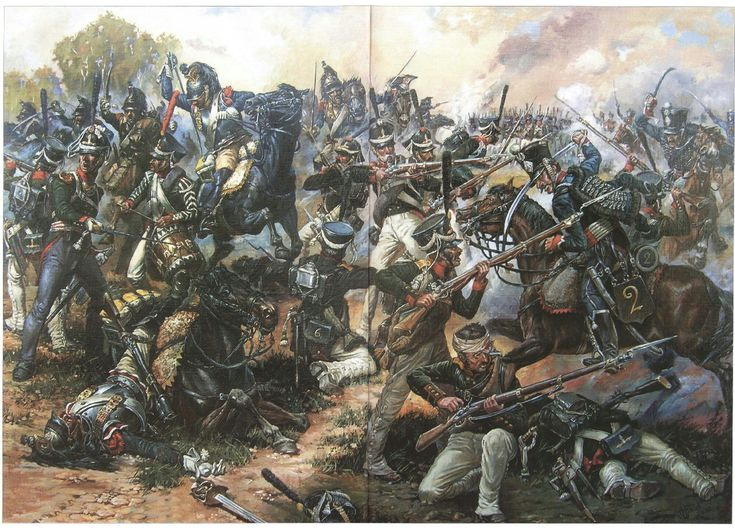 Attack of French cuirassiers and hussars on the Westphalian position Aleksopolskogo Infantry Regiment in the battle for the village Semenov, the Battle of Borodino on 7 September 1812.
