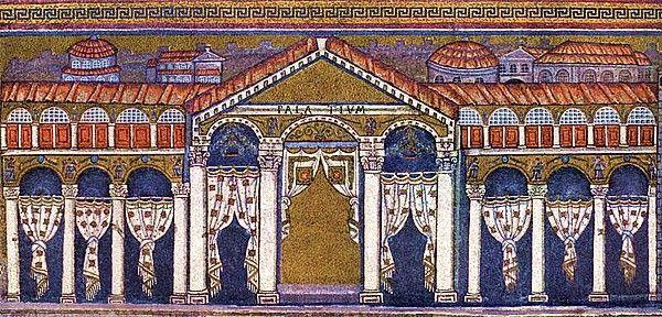 Basilica di Sant'Apollinare di Nuovo; inizio VI secolo d.C.; Ravenna. Particolare della decorazione della fascia inferiore (lato destro).   La veduta è mostrata in prospettiva ribaltata; l'artista per consentire che un maggior numero di fedeli potesse capire il soggetto raffigurato, ha ribaltato le due ali sullo stesso piano del fronte.