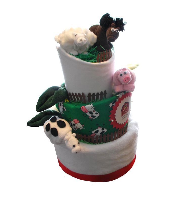 This is a 3 tier farm yard nappy cake. Enough for any new Mum or Dad to go quackers over! This nappy cake has four amazing washcloth creations (towel art) – a pig, cow, sheep and horse. All washcloths are easy to dismantle ready to be used at bath time or nappy changing.