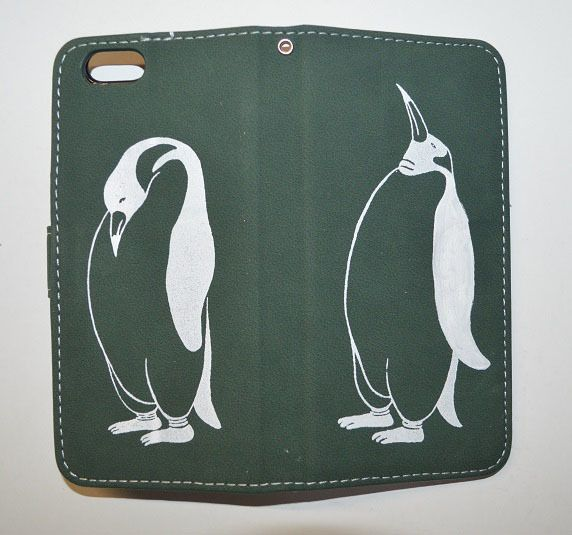 ペンギン手帳型 iPhone/Xperiaケース、グリーン!iPhone 5&6対応、Xperia対応
