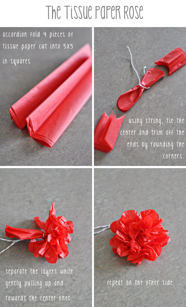tissue paper rose Make a beautiful paper flower decoration that will be the perfect highlight for any special occasion supplies fold  snapguide on how to make a tissue paper flower.