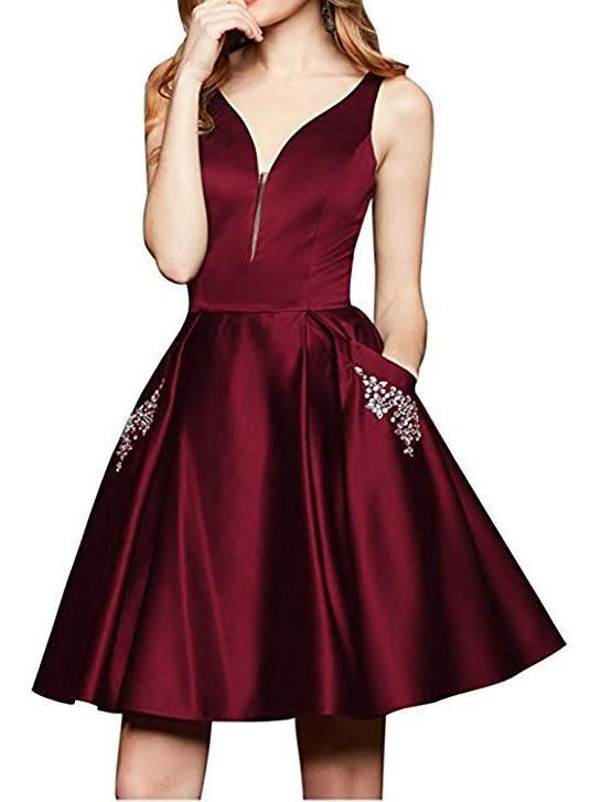 b811677084 Maroon Short Homecoming Dresses with Pocket Cheap Homecoming Dress ARD1570