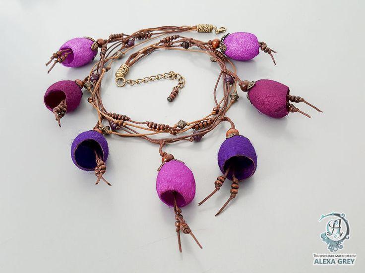 """Купить Колье """"Фиолетовые акценты"""" - оригинальное колье, оригинальное украшение, авторская ручная работа"""
