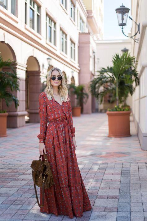 Bohemian fall maxi dress