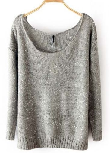 Grey Sparkle Loose Fit Sweater
