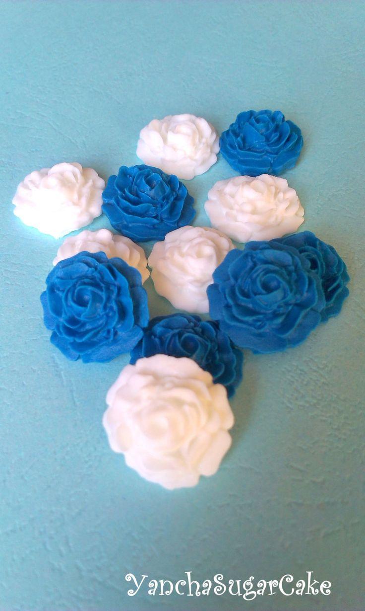 Fondant edible sugar mini roses White Navy blue Gumpaste flowers Wedding Bridal shower Cupcake topper Cake Baby boy shower Christening favor by YanchaSugarCake on Etsy