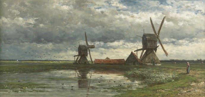 Willem Roelofs - Polderlandschap met wipwatermolens