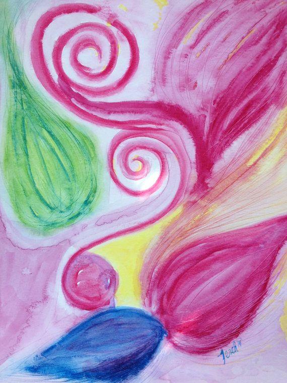 Original Abstract Watercolor Painting Pink by KingdomCreatives, $5.00