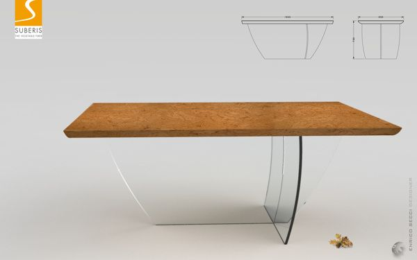 Cork + Glass table for Suberis