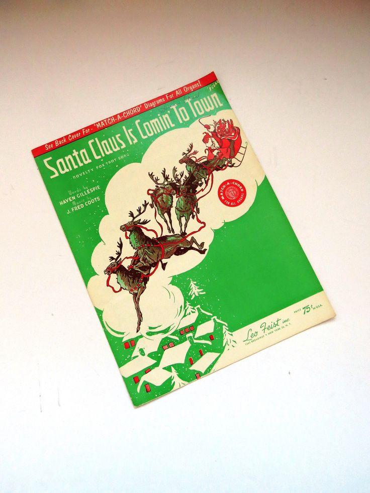 1959 Santa Claus is Comin to Town Sheet Music - Piano Organ Vocal - Chords and Lyrics ...