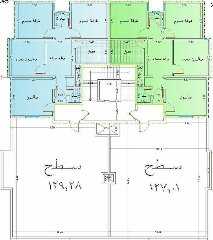 مخطط عمارة الدور الأرضي ٤شقق كل شقة مكونة ٤ غرف و حمامين و صالة و مطبخ Classic House Design Floor Plan Design Luxury House Plans