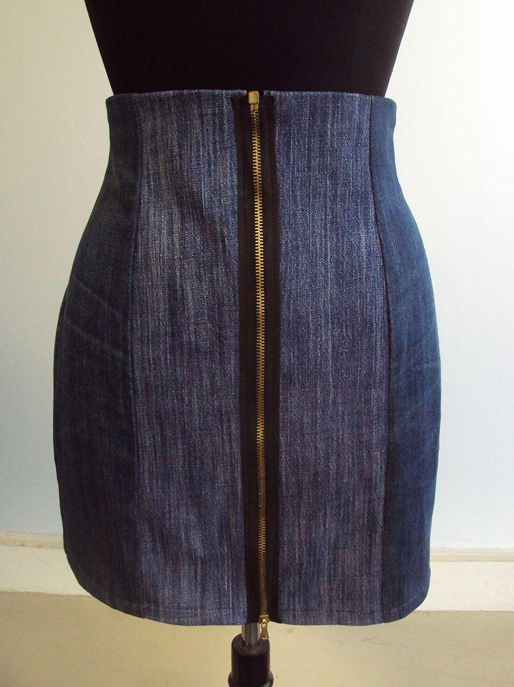 'So, Zo...': Refashion Friday Inspiration: Front Zip Panelled Denim Mini Skirt