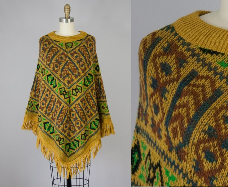 1970s Vintage Wool Fringe Sweater Poncho (XS, S, M) by heirravintage on Etsy