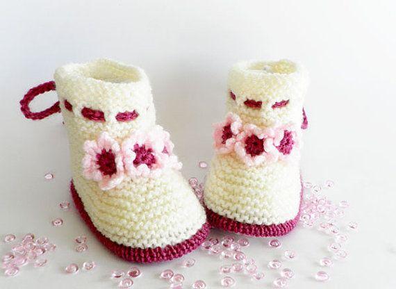 Scarpette per neonati a maglia, maglia bambino scarpe in color vaniglia, maglia bambino stivali, READY TO SHIP,