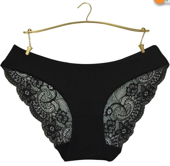Dmart7deal Women Lace Sexy Panties,Ultra-Thin Transparent Flower Embroidered Plus Size Underwear Women's Briefs