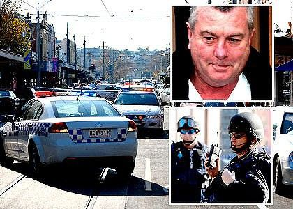"""Police cars block the Melbourne road where, inset, Desmond """"Tuppence"""" Moran was shot and killed on 15 June 2009. His sister-in-law Judy Moran was later convicted of his murder, as a member of a joint criminal enterprise in which she drove the getaway car and was to dispose of incriminating evidence."""