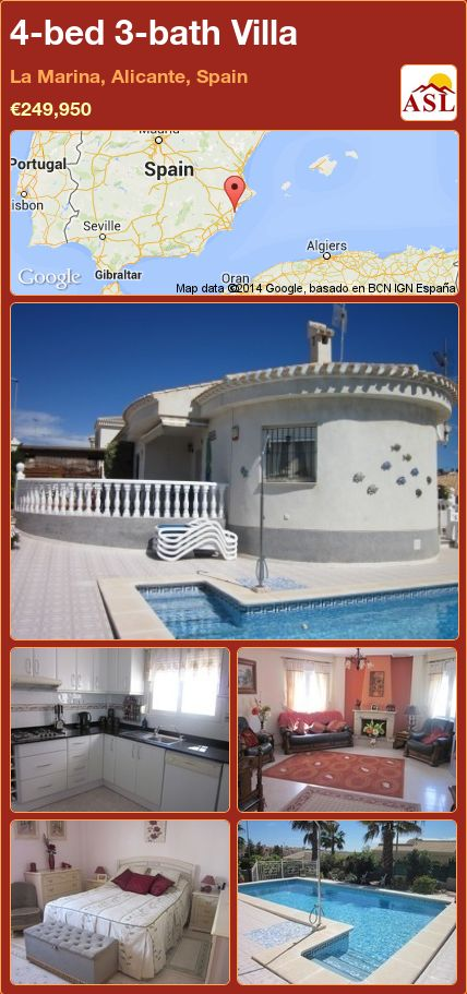 4-bed 3-bath Villa in La Marina, Alicante, Spain ►€249,950 #PropertyForSaleInSpain