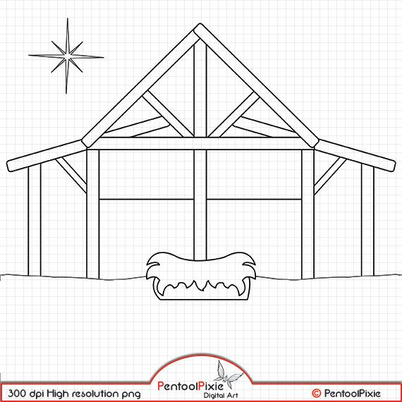 Nativity Line Art Digital Stamps Black And White Christmas