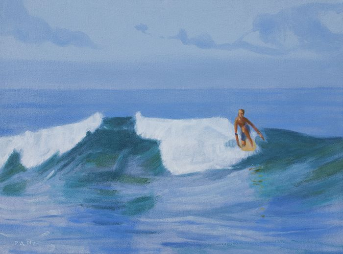 "Surfer, Makena, Maui. 18x24"" Oil on canvas © Chris Dahl 2014. $1,200 (unframed) free shipping worldwide. contact to purchase. http://chrisdahlcreative.com/paintings_page2010.html"