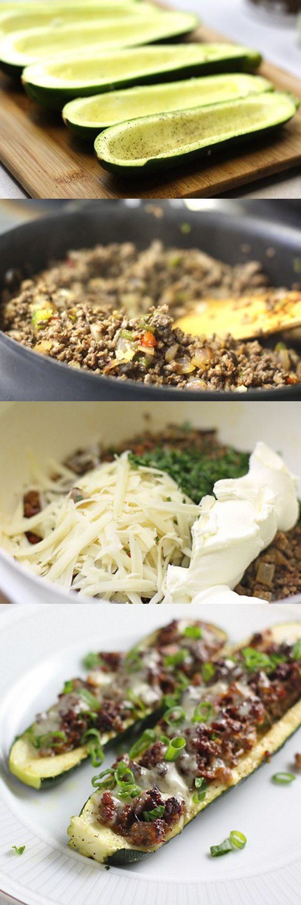 Ground Beef + Cheese Stuffed Zucchini : My Pinterest Recipes