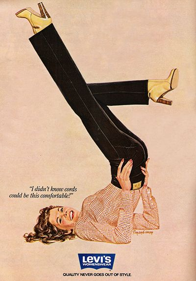 """November 1980. """"I didn't know cords could be this comfortable!"""" Levis"""