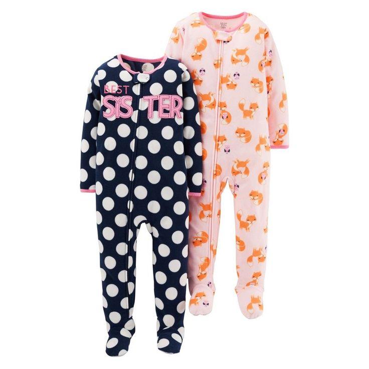 Just One YouMade by Carter's Girls' 2 Pack Polka Dot Best Sister Blanket Sleeper 18M, Infant Girl's, Size: 18 M, Black