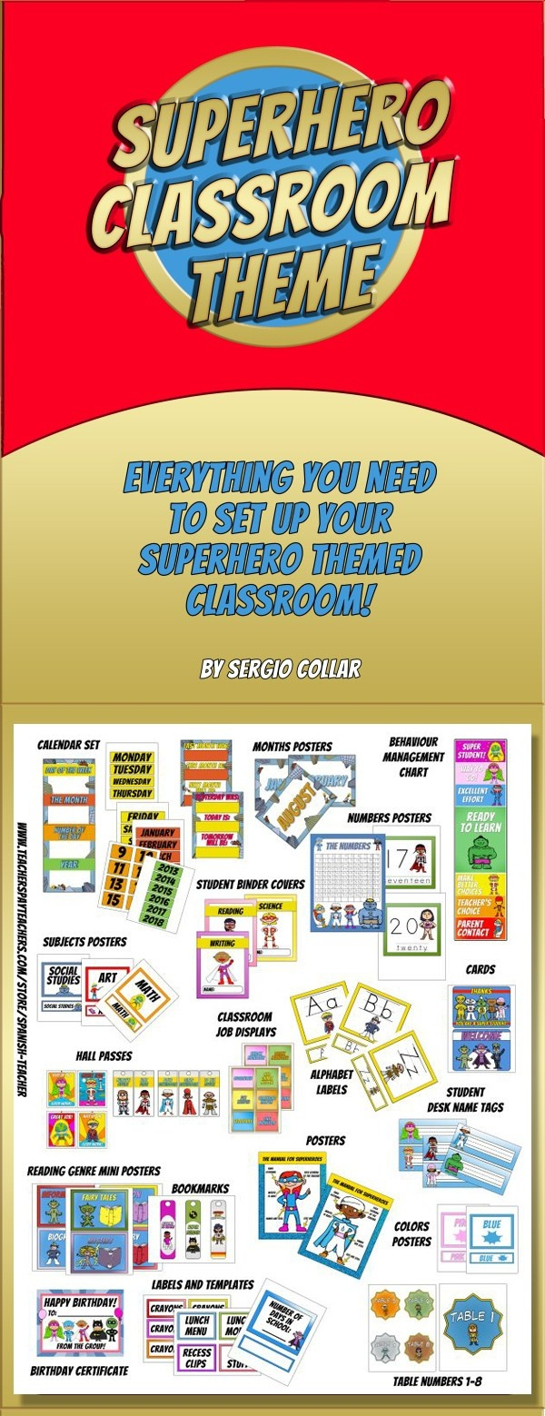 SUPERHERO - Classroom Theme - Labels signs and much more! - Over 180 pages! -