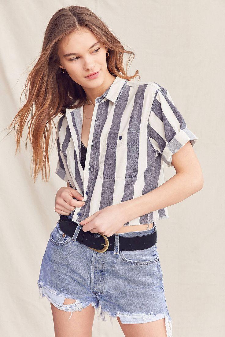 Slide View: 1: Vintage Striped Button-Down Cropped Shirt
