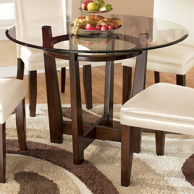 Charrell Round Glass Top Table, Charrell Dining Room Chair
