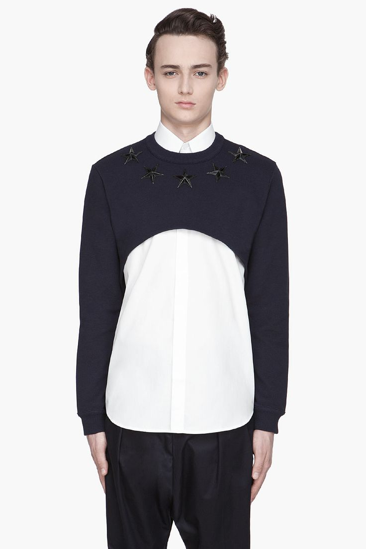 GIVENCHY Navy and red Cropped Star Sweat Shirt
