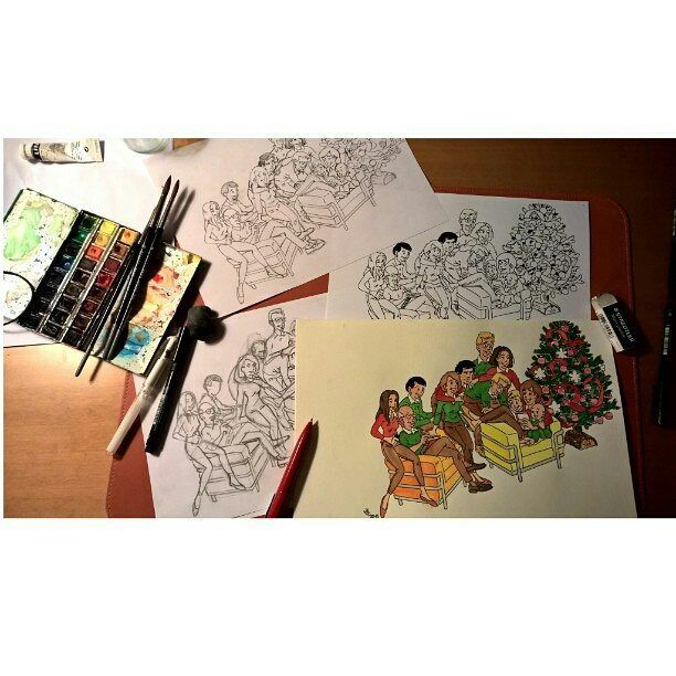 Repost from #SBS Fakulty member @jcdefline -  Finishing #seasongreetings  card. #inkandcolor #penink #watercolor #watercolour #christmascard #familyportraits #familysketches #illustrateddiary #visualjournal #artstagram #sketchbook #sketchbookskool #illustration #flinflins