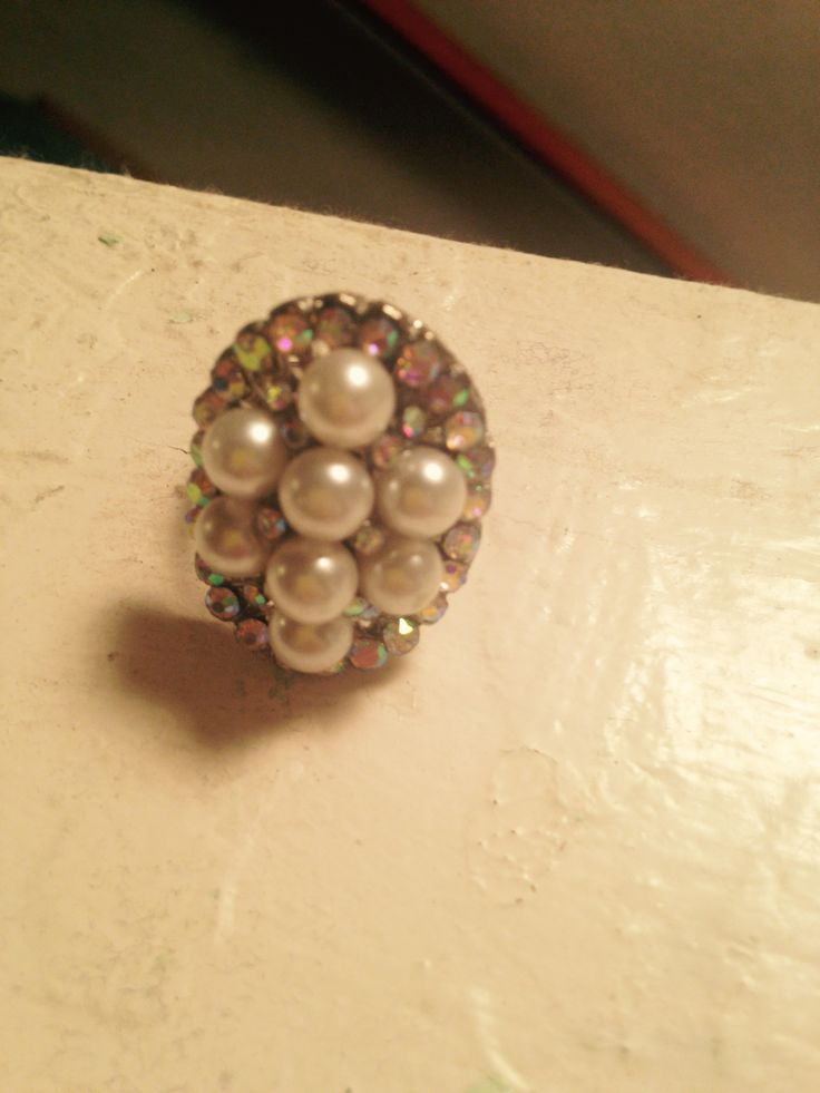 Pearl rhinestone ring. Don't remember where I bought it.