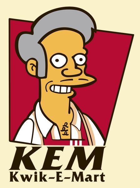 Parody of Kwik-E-Mart of Apu and KFC.