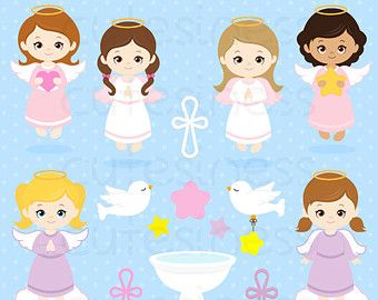 ANGELS GIRLS Digital Clipart Set Angels Clipart by GRAFOSclipart